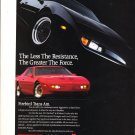 "1991 Pontiac Firebird Trans Am Coupe photo ""Less Resistance Greater Force"" Ad"