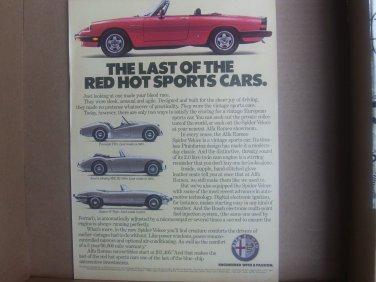 Vintage Alfa Romero Sports Car Magazine Advertisement