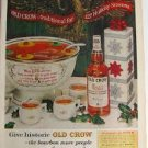 1962 Ad Old Crow Kentucky Straight Bourbon Whiskey Holiday Punch Recipes