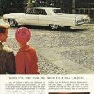 1964 Cadillac Coupe DeVille white car photo vintage print Ad