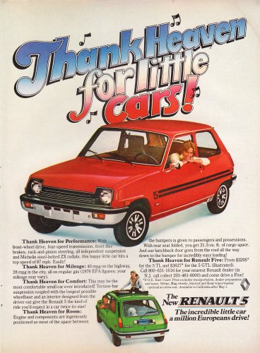 Vintage Renault 5 Magazine Advertisement