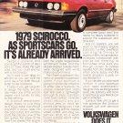 VW Scirocco Vintage Magazine Advertisement 1979
