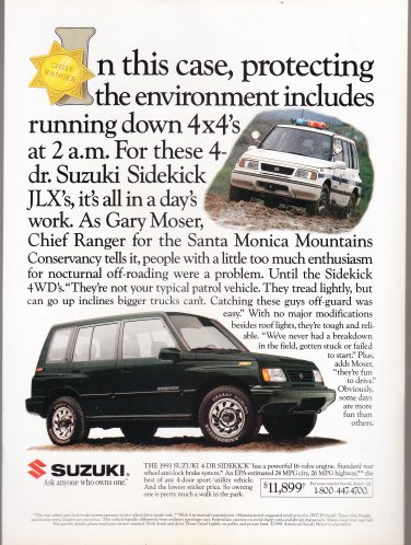 Suzuki Sidekick Vintage magazine advertisement