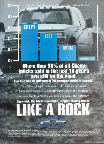 Chevy like a rock Ad, vintage magazine advertisement