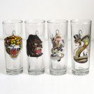 Ed Hardy Life Tall Shooters Glasses set 4 Tattoo Cobra Tiger New York Gorilla