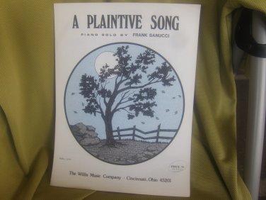 a Plaintive Song sheet music