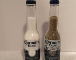 Corona (Coronita extra) 7 oz bottles salt and pepper shakers