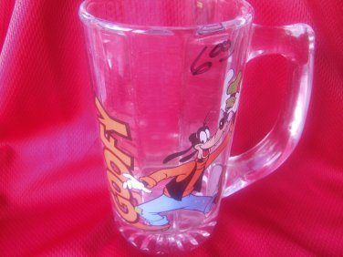 Vintage Walt Disney Goofy Tall Clear Glass Mug
