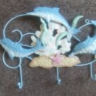 Metal Dolphin and Shell Wall Plaque with Hooks Nautical Hanger