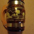 Vintage Brown Amber Mug Wood Handle Glass Siesta .....South Carolina