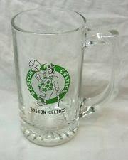 """VINTAGE BOSTON CELTICS NBA BASKETBALL 5.5"""" Collector's GLASS BEER MUG"""