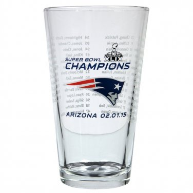 New England Patriots - Team Roster Super Bowl XLIX 49 Champs 16 Oz. Pint Glass
