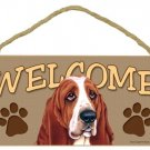 "Basset Hound 10"" x 5"" Wooden Welcome Dog Sign"