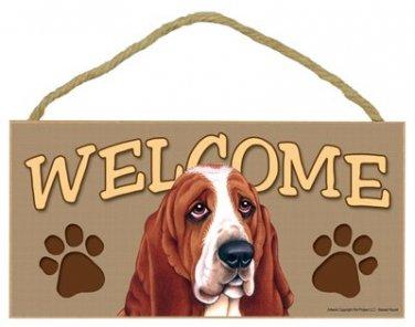 """Basset Hound 10"""" x 5"""" Wooden Welcome Dog Sign"""