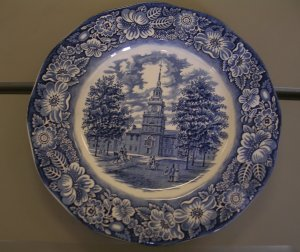 Liberty Blue Staffordshire Commemorative Plate - Philadelphia Independence Hall