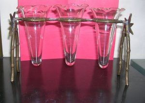 Vintage Vases - Brass Stand, 3 Small Vases