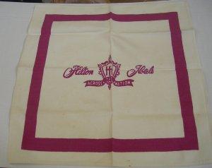 Vintage Hilton Hotels Cloth Napkin 1950