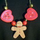 UGLY CHRISTMAS NECKLACE Sweater Party Handmade Wood Gingerbread Man Bells