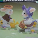 New Easter Bucilla Plastic Canvas Craft Kit Mr & Mrs Bunny Rabbit Table Decor 5968