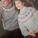 Vintage Knitting Patterns Fair Isle Men Women Pullover Sweaters Chest Bust 30 - 44 Inches