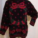 Vintage Ugly Wreath Christmas Party Sweater Black Red Stars