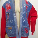 Handmade Denim Jean Sweatshirt Jacket Square Dance Music Sequin Appliques Wrangler Western