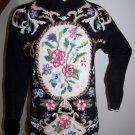 Vintage Victorian Floral Womens Pullover Sweater Black Beldochpopper