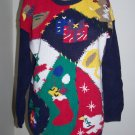 Ugly Christmas Sweater Large Pullover Yarn Works Patchwork Color Block Gaudy Tacky
