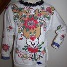 Vintage Ugly Christmas Sweater Party Sweatshirt Rudolph Reindeer Garland Santa