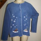 Ugly Christmas Sweater Fleece Cardigan XL Moose Country Cabin Black Bear Winter Button Up