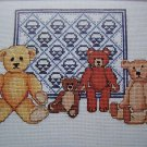 Antique Teddy Bears and Basket Quilt Sampler Embroidery Cross Stitch Pattern