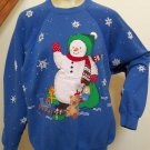 XXL Adults Ugly Vintage Christmas Party Sweatshirt Handmade Snowman Glitter Shirt 2XL