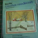 Vintage Bucilla Embroidery Cross Stitch Craft Kit Winter Twilight Snowy Winter Barn Ranch House 2395