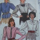 Uncut Vintage Misses Blouse & Tie Sewing Pattern Button Up Long Sleeve Blouse Shirts 9236