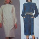 Vintage Uncut Misses Sewing Pattern Straight Slim Button Shift Dress Stand Up Collar 8753