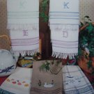 Vintage Cross Stitch Patterns Towel Designs Duck Butterflies Pitcher Monograms