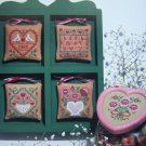 Prairie Schooler Cross Stitch Patterns Designer Vintage Floral From the Heart Ornaments