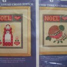 2 New Vintage Christmas Counted Cross Stitch Patterns Noel Angel Partridge Lot
