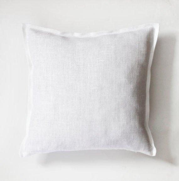 White linen pillow cover 16x16