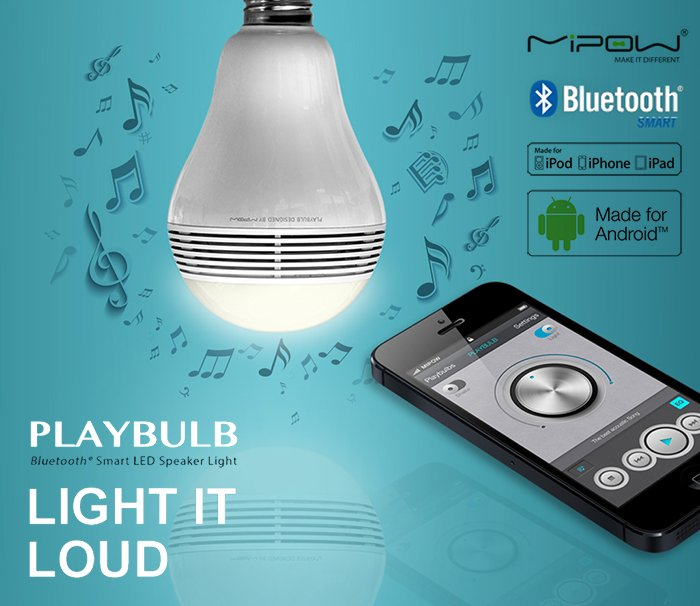 MiPOW Playbulb Wireless Bluetooth 4.0 Smart LED Light Bulb Speaker Apple Android