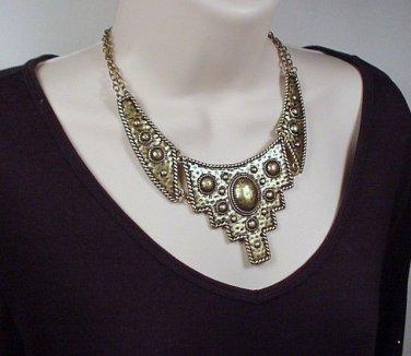 Bib Necklace & Earring Set Antique Gold Exceptional @VillageBeadShop