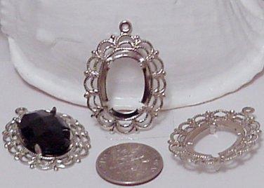Filgree Bezel Silver 4 Prongs 23mm x 32mm Beading Supplies Crafts DIY