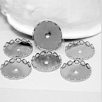 Bezel Cups, Silver, Round for 18mm Cab Bead Supplies, Crafts DIY