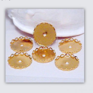 Lacy Bezel Cups Gold Round for 18mm Cab Beading Supplies DIY