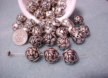 Rosebud Beads Large 14mm Round Antique Silver Plated Resin Jewelry Supplies, Beading Supplies, DIY