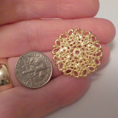 Filigree Connector Round 25mm x 1mm Gold Jewelry and Bead Supplies DIY@VillageBeadShop