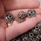 Saucer Bead 11mm x 17mm Antique Silver Metal Filigree Scroll Jewelry Supplies, Beading Supplies, DIY