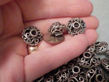 Saucer Bead 11mm x 17mm Antique Silver Metal Filigree Scroll Jewelry Supplies, Beading Supplies, DIY