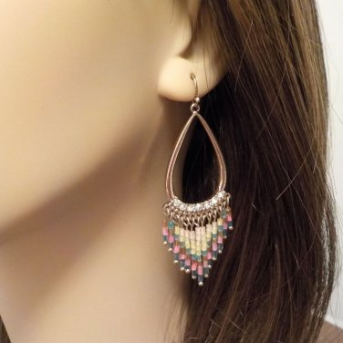Earrings, Southwestern, Gold Rhinestone Earrings w/Heishi Beads GIFT @VillageBeadShop