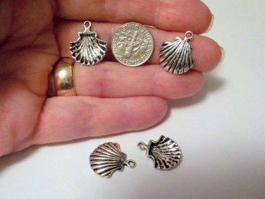 Antique Silver Sea Shell Charms Nautical Beach 18 x 15mm Jewelry Supplies, Beading Supplies, DIY